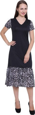 SKM Women Fit and Flare Black Dress