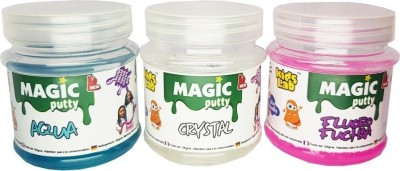 KidsLab Magic Putty Crystal, Aqua, Fuschia 300gms (pack of 3 x 100gms) Multicolor Putty Toy