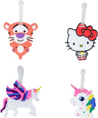 Tootpado Luggage Tags Cartoon Designs Tiger Unicorn Hello Kitty - Pack of 4 (CLNT35) - Bag Travel Tags Luggage Tag(Multicolor)