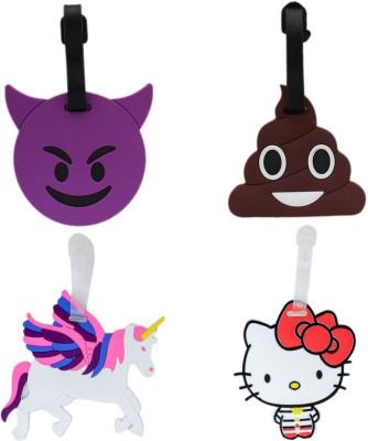 Tootpado Luggage Tag Set Potty Poo Devil Emoji Unicorn Hello Kitty - Pack of 4 (CLNT41) - Bag Travel Tags Luggage Tag(Multicolor)
