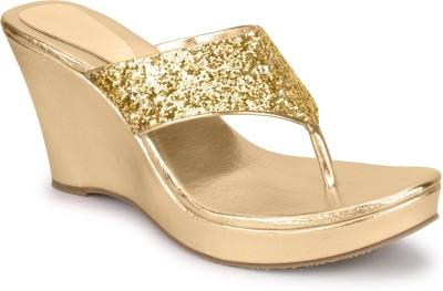 SHOFIEE Women Gold Wedges