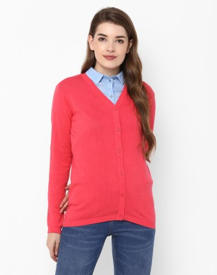 Provogue Solid V-neck Casual Women Red Sweater