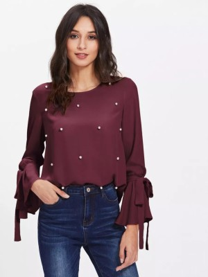 Alfa Fashion Party Flared Sleeve Self Design Women's Maroon Top