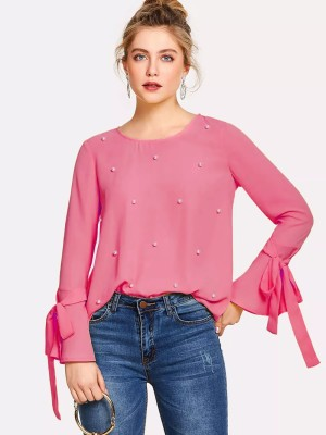 Alfa Fashion Party Flared Sleeve Self Design Women's Pink Top
