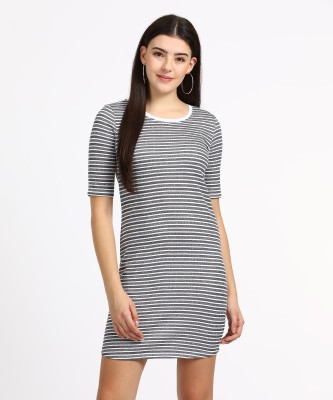 People Women Sheath Grey, White Dress