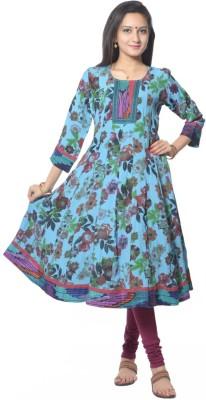 Vastra Vinod Casual Floral Print, Printed Women Kurti(Blue)