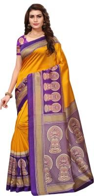 V J Fashion Printed Mysore Art Silk Saree(Yellow)