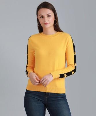 Vero Moda Solid Round Neck Casual Women Yellow Sweater