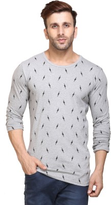 Inkovy Printed Men Round Neck Grey T-Shirt
