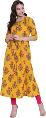 Divastri Women Striped Straight Kurta(Yellow)