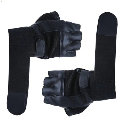 zaysoo Palm Support Weight Lifting 2 strech Gym & Fitness Gloves(Black)