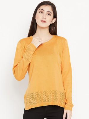 Cayman Solid Round Neck Casual Women Yellow Sweater