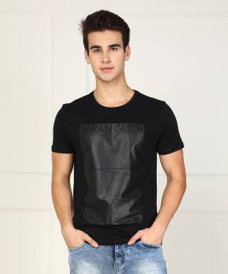 Wrangler Printed Men's Round Neck Black T-Shirt