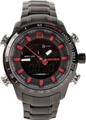 NAVIFORCE NF9093BBR LCD Digital Movement Quartz Analog Digital Watch   For Men NAVIFORCE Wrist Watches