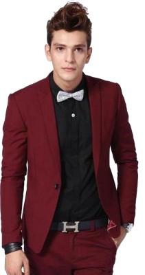 One Click Solid Tuxedo Style Party Men Blazer(Maroon)
