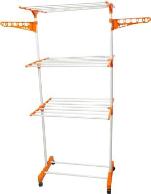 SHP PREMIUM INDIA MADE CLOTHES DRYER SINGLE M.S Carbon Steel, Plastic Floor Cloth Dryer Stand(Orange)