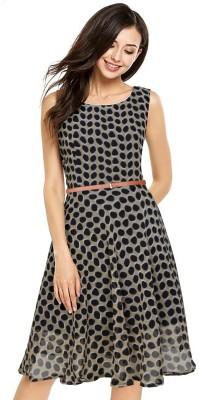 DAMEN Women Maxi Beige, Black Dress