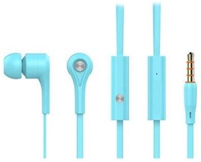 HilGar HEAVY BASS Stereo Earphone Universal 3.5 mm Jack (Sky Blue) Wired Headset with Mic(Sky blue, In the Ear)