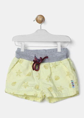 Gini & Jony Short For Girls Casual Printed Cotton Blend(Grey, Pack of 1)
