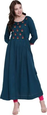 Gulmohar Jaipur Women Embroidered Flared Kurta(Dark Blue)
