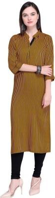 Abhivastram Women Striped Straight Kurta(Yellow)