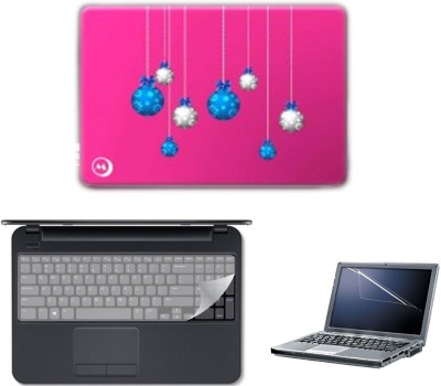 JRONIX Laptop Skin With Multi Balloon Hanging on Wall & Keyboard Skin & Screen Guard Applicable All Size Laptop Combo Set(Pink Wall With Multi Balloon)