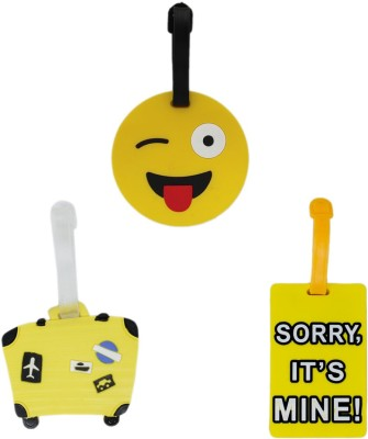 Tootpado Luggage Tag Set Smiley Suitcase Sorry Its Mine - Pack of 3 (CLNT38) - Bag Travel Tags Luggage Tag(Multicolor)