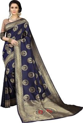 Aashvi Creation Printed Kanjivaram Banarasi Silk, Jacquard, Cotton Silk, Art Silk Saree(Dark Blue) Flipkart