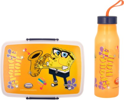 Jayco Fliplock Small Plastic lunch box and Polo small water bottle set for kids Sponge Bob Print School Set