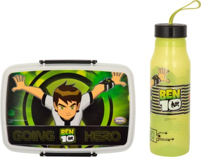 Jayco Fliplock Small Plastic lunch box and Polo small water bottle set for kids Ben 10 Print School Set