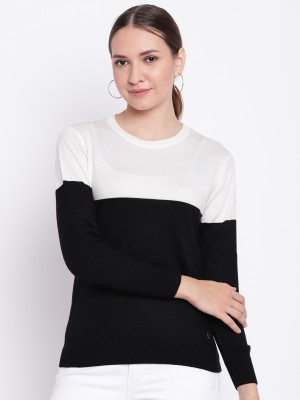 Cayman Solid Round Neck Casual Women Black Sweater