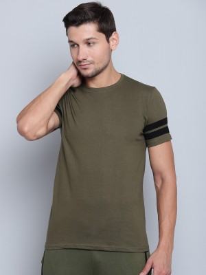 SayItLoud Solid Men Round Neck Green, Black T Shirt