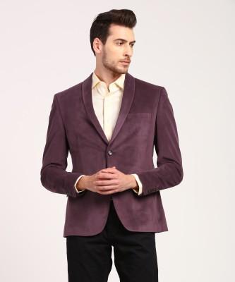 V Dot by Van Heusen Solid Tuxedo Style Party Men Blazer(Grey)