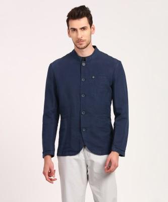 V DOT BY VAN HEUSEN Self Design Single Breasted Casual Men Blazer(Grey)