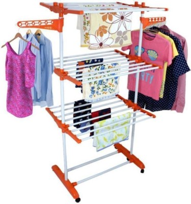 SHP TRUSTED singly pole clothes rack stand 3-tier Carbon Steel, Plastic Floor Cloth Dryer Stand(Orange)