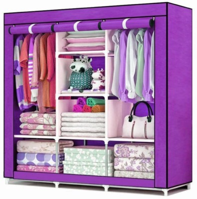 Royaldeals Collapsible Wardrobe 88130 MDF Collapsible Wardrobe(Finish Color - Purple)