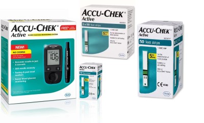 Accu-Chek Active Meter With 160 Strips Glucometer(Black)