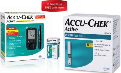 Accu-Chek Active Meter With 110 Strips Glucometer(Black)