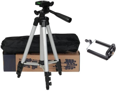BUY GENUINE Tripod-3110 Lightweight Camera Stand With Three-Dimensional Head & Quick Release Plate For Canon Nikon Sony Cameras Camcorders with Mobile Phone Holder Mount For Android Phone Portable Adjustable Tripod(Silver & Black, Supports Up to 1500)  available at flipkart for Rs.1599
