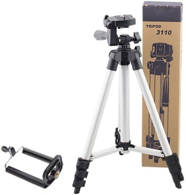 BUY SURETY Tripod-3110 Lightweight Camera Stand With Three-Dimensional Head & Quick Release Plate For Canon Nikon Sony Cameras Camcorders with Mobile Phone Holder Mount For Android Mobile Portable Adjustable Tripod(Silver & Black, Supports Up to 1500)