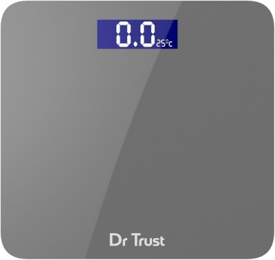 Dr. Trust (USA) Platinum Rechargeable Digital Personal Weighing Scale Electronic Weight Machine For Human Body with Temperature Display (USB Cable, Thermometer, Measuring Tape Included) Weighing Scale(Grey)