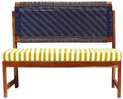 Reme Solid Wood 3 Seater(Finish Color - Blue & Grey with yellow striped spuch)