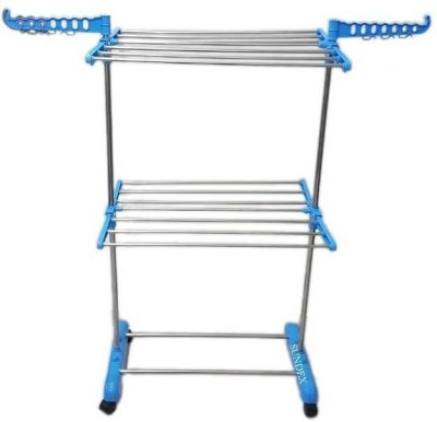 SUNDEX Steel Floor Cloth Dryer Stand 2 TIER SINGLE PIPES(2 Tier)
