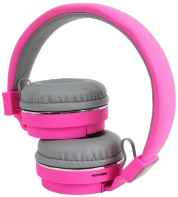 HONEY MONEY SH-12 Headphone With FM & SD Card Slot Wireless Bluetooth Bluetooth, Radio Frequency, Wired Headset with Mic(Pink, Over the Ear)