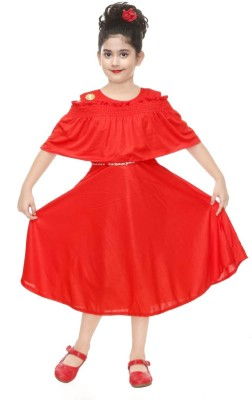 KL Collection Girls Midi/Knee Length Party Dress(Red, Fashion Sleeve)