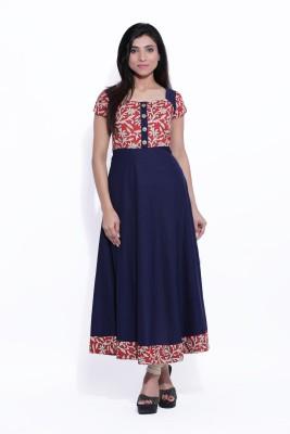 Ayan Women Printed Anarkali Kurta(Dark Blue, Red)