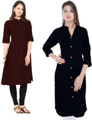 Flavia Creation Casual Solid Women Kurti(Pack of 2, Black, Brown)