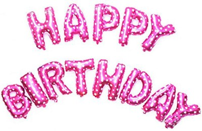 AMFIN Solid Happy Birthday Letter Foil Balloon PINK 11 Letter Balloon(Pink, Pack of 1)
