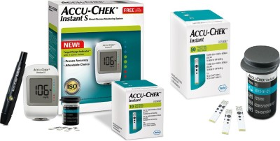 Accu-Chek Instant Meter with Instant Test Strips Glucometer(White)