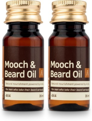 Ustraa Mooch and Beard Oil 4X4 - Set of 2 Hair Oil(70 ml)